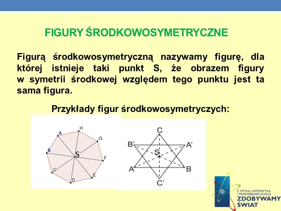FIGURY ŚRODKOWOSYMETRYCZNE Figurą środkowosymetryczną nazywamy figurę, dla której istnieje taki punkt S, że obrazem figury w symetrii środkowej względ