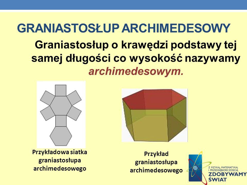 GRANIASTOSŁUP ARCHIMEDESOWY Graniastosłup o krawędzi podstawy tej samej długości co wysokość nazywamy archimedesowym. Przykładowa siatka graniastosłup