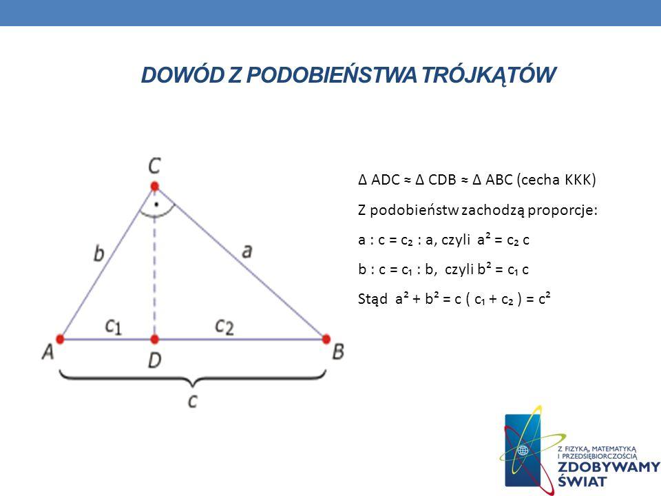 DOWÓD Z PODOBIEŃSTWA TRÓJKĄTÓW ADC CDB ABC (cecha KKK) Z podobieństw zachodzą proporcje: a : c = c : a, czyli a² = c c b : c = c : b, czyli b² = c c S