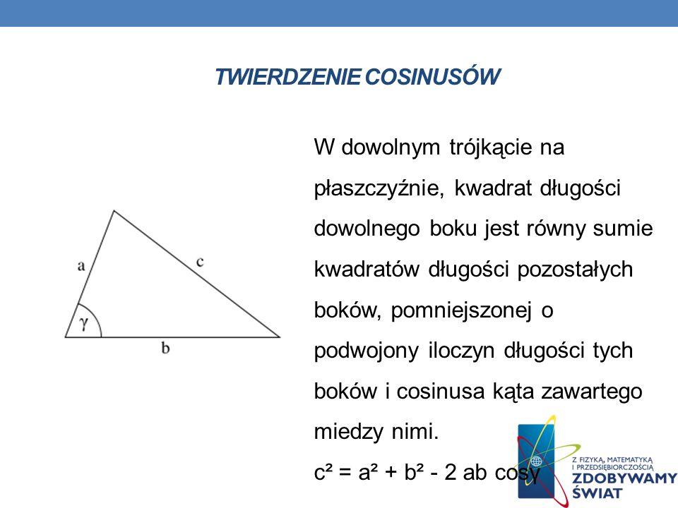 TWIERDZENIE COSINUSÓW W dowolnym trójkącie na płaszczyźnie, kwadrat długości dowolnego boku jest równy sumie kwadratów długości pozostałych boków, pom