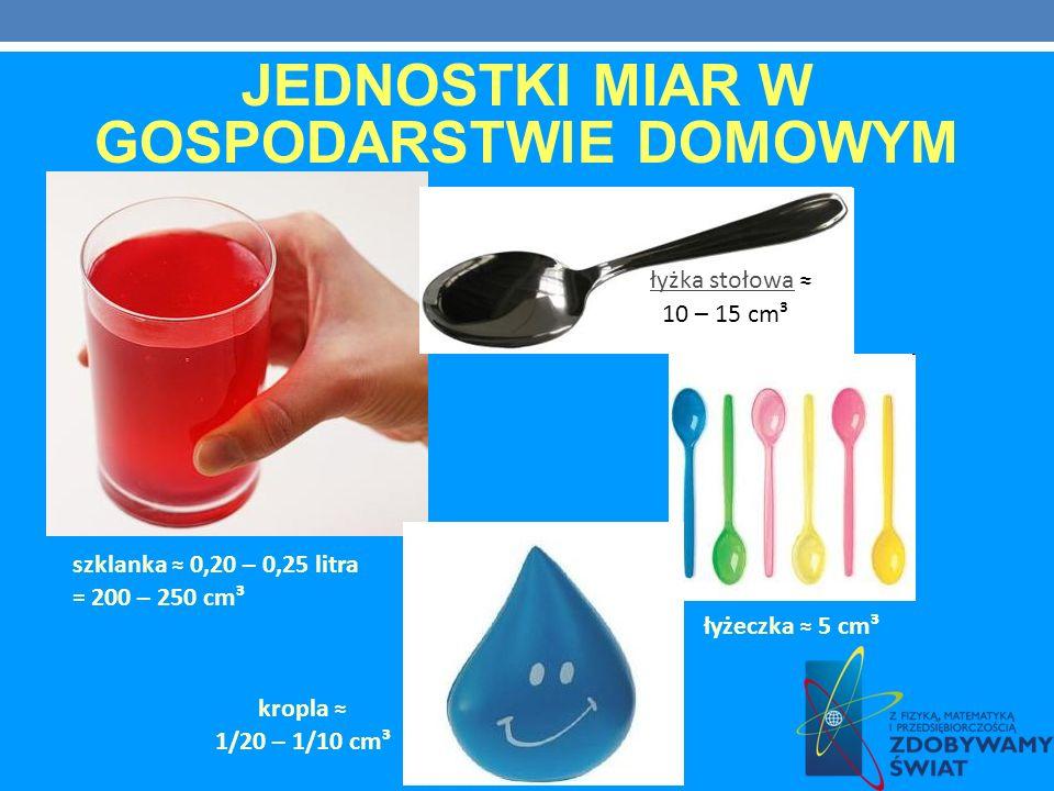 JEDNOSTKI MIAR W GOSPODARSTWIE DOMOWYM szklanka 0,20 – 0,25 litra = 200 – 250 cm³ łyżka stołowa 10 – 15 cm³ łyżeczka 5 cm³ kropla 1/20 – 1/10 cm³