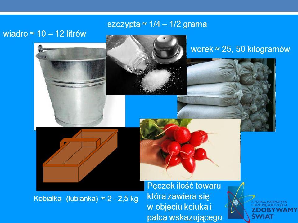 wiadro 10 – 12 litrów worek 25, 50 kilogramów Kobiałka (łubianka) 2 - 2,5 kg Pęczek ilość towaru która zawiera się w objęciu kciuka i palca wskazujące