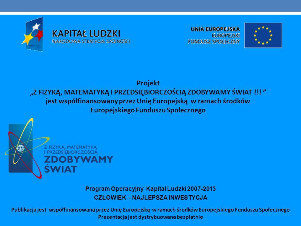 Publikacja jest współfinansowana przez Unię Europejską w ramach środków Europejskiego Funduszu Społecznego Prezentacja jest dystrybuowana bezpłatnie P