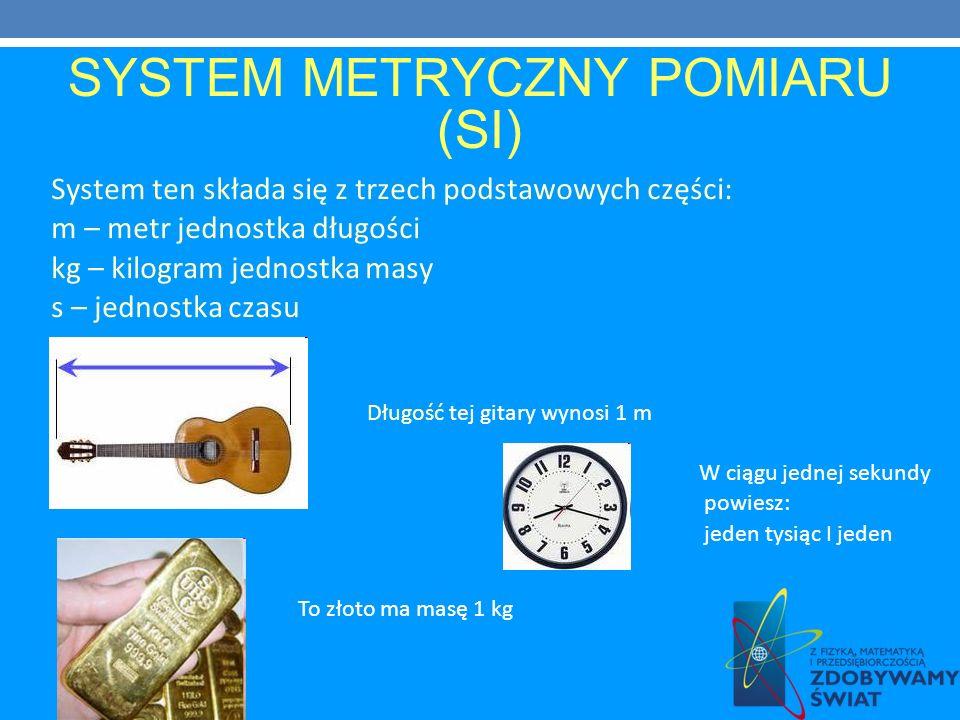 SYSTEM METRYCZNY POMIARU (SI) System ten składa się z trzech podstawowych części: m – metr jednostka długości kg – kilogram jednostka masy s – jednost