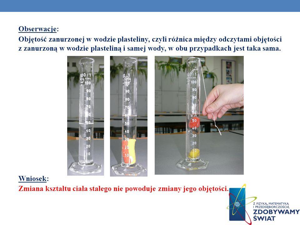 Obserwacje: Objętość zanurzonej w wodzie plasteliny, czyli różnica między odczytami objętości z zanurzoną w wodzie plasteliną i samej wody, w obu przy