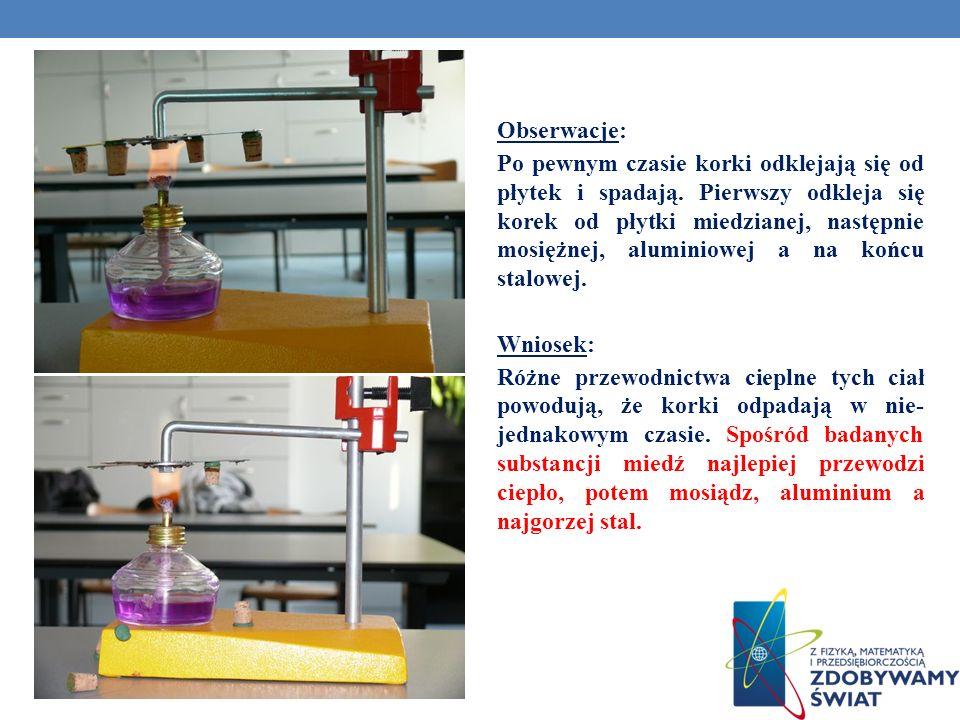 Obserwacje: Po pewnym czasie korki odklejają się od płytek i spadają. Pierwszy odkleja się korek od płytki miedzianej, następnie mosiężnej, aluminiowe