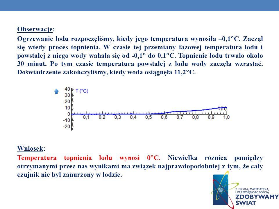Obserwacje: Ogrzewanie lodu rozpoczęliśmy, kiedy jego temperatura wynosiła –0,1 C. Zaczął się wtedy proces topnienia. W czasie tej przemiany fazowej t
