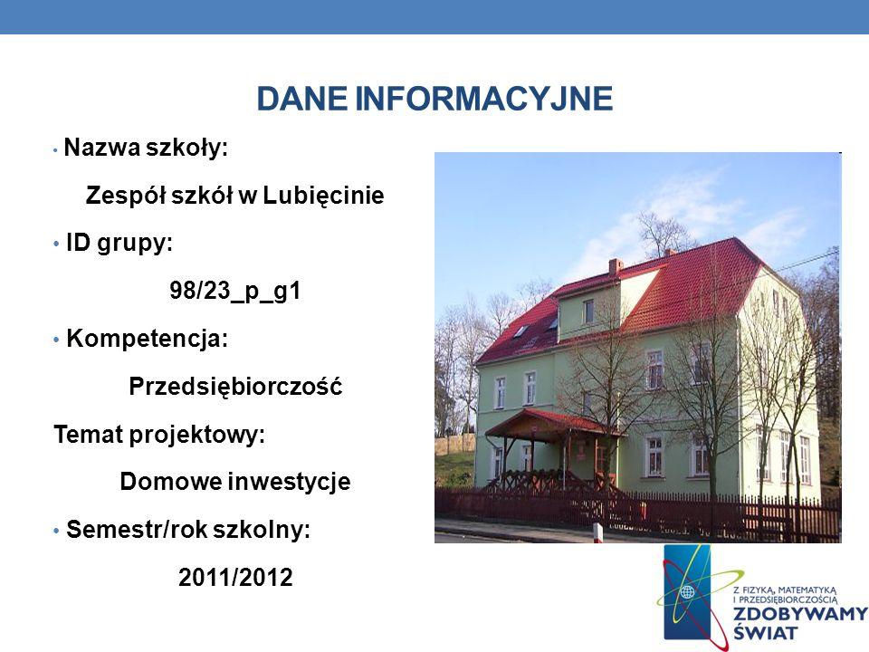 DANE INFORMACYJNE Nazwa szkoły: Zespół szkół w Lubięcinie ID grupy: 98/23_p_g1 Kompetencja: Przedsiębiorczość Temat projektowy: Domowe inwestycje Seme