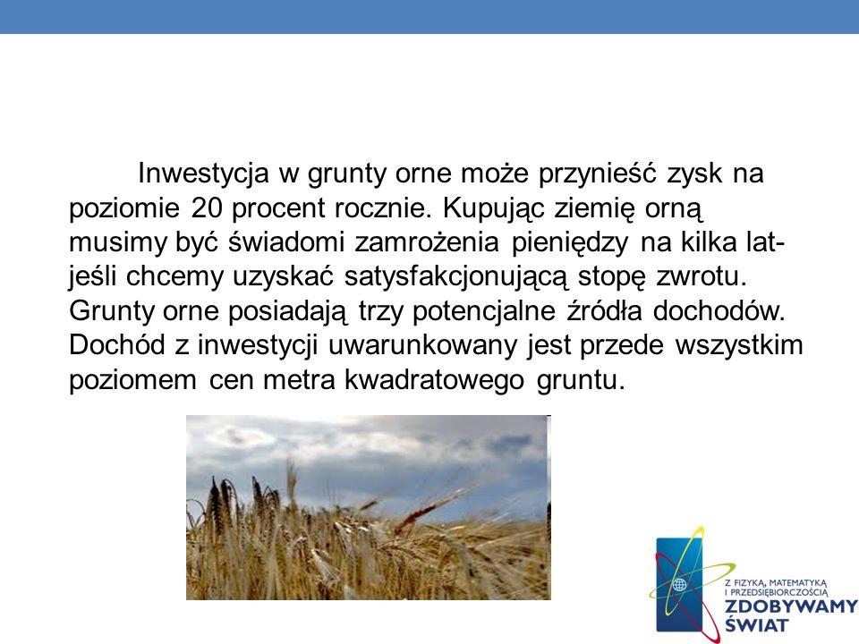 Inwestycja w grunty orne może przynieść zysk na poziomie 20 procent rocznie. Kupując ziemię orną musimy być świadomi zamrożenia pieniędzy na kilka lat