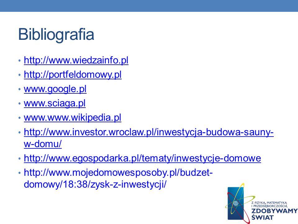 Bibliografia http://www.wiedzainfo.pl http://portfeldomowy.pl www.google.pl www.sciaga.pl www.www.wikipedia.pl http://www.investor.wroclaw.pl/inwestyc