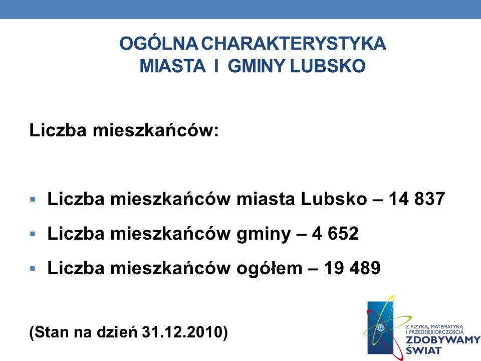 OGÓLNA CHARAKTERYSTYKA MIASTA I GMINY LUBSKO Liczba mieszkańców: Liczba mieszkańców miasta Lubsko – 14 837 Liczba mieszkańców gminy – 4 652 Liczba mie