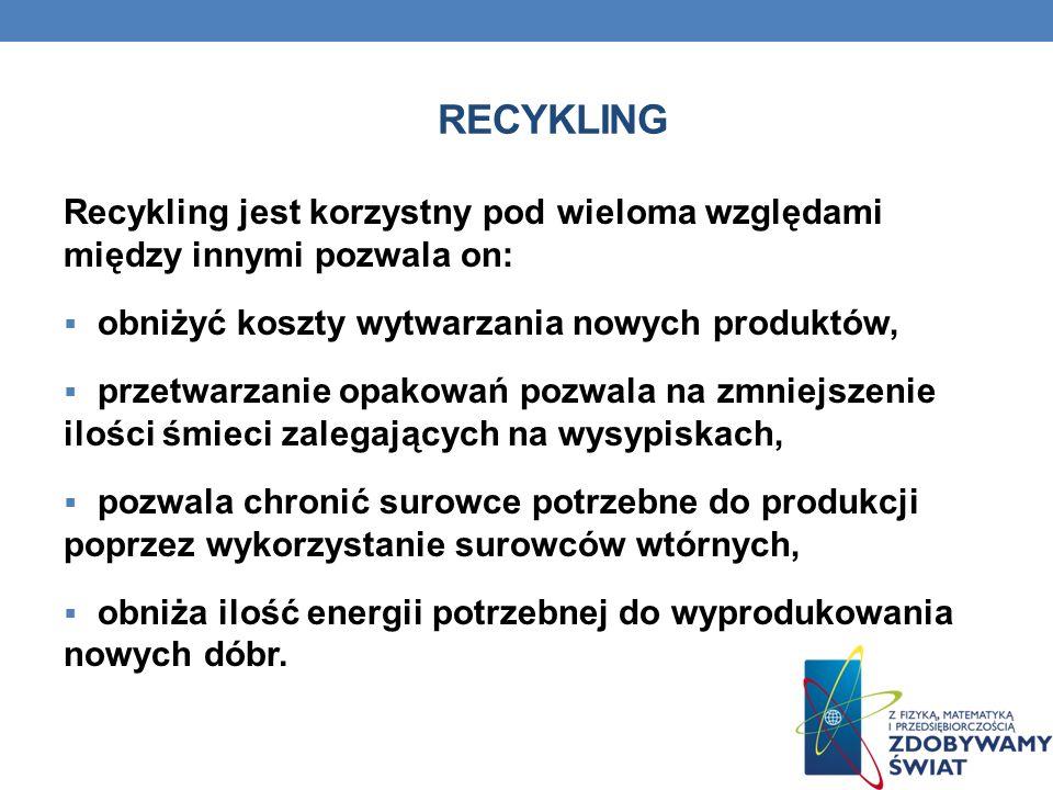 RECYKLING Recykling jest korzystny pod wieloma względami między innymi pozwala on: obniżyć koszty wytwarzania nowych produktów, przetwarzanie opakowań