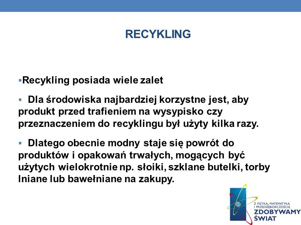 RECYKLING Recykling posiada wiele zalet Dla środowiska najbardziej korzystne jest, aby produkt przed trafieniem na wysypisko czy przeznaczeniem do rec