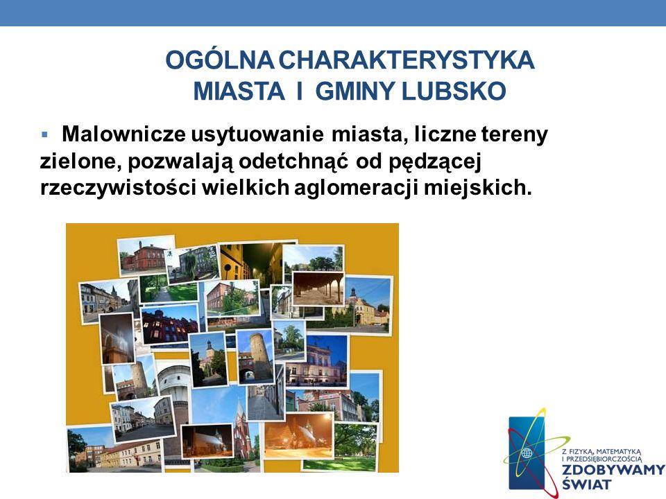 OGÓLNA CHARAKTERYSTYKA MIASTA I GMINY LUBSKO Malownicze usytuowanie miasta, liczne tereny zielone, pozwalają odetchnąć od pędzącej rzeczywistości wiel