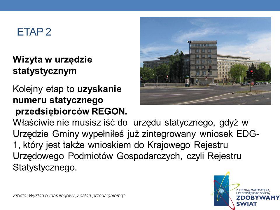 ETAP 2 Wizyta w urzędzie statystycznym Kolejny etap to uzyskanie numeru statycznego przedsiębiorców REGON. Właściwie nie musisz iść do urzędu statyczn