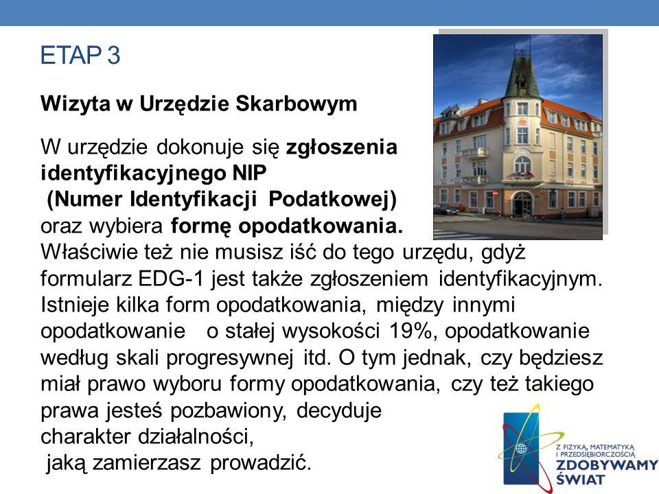 ETAP 3 Wizyta w Urzędzie Skarbowym W urzędzie dokonuje się zgłoszenia identyfikacyjnego NIP (Numer Identyfikacji Podatkowej) oraz wybiera formę opodat