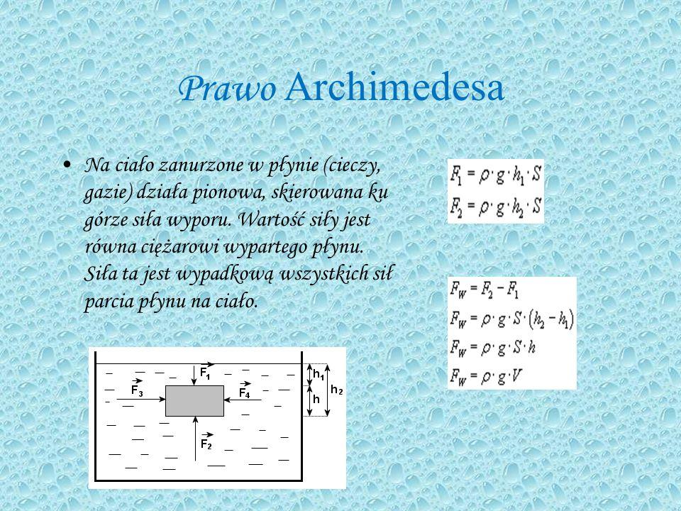 Prawo Archimedesa Na ciało zanurzone w płynie (cieczy, gazie) działa pionowa, skierowana ku górze siła wyporu.
