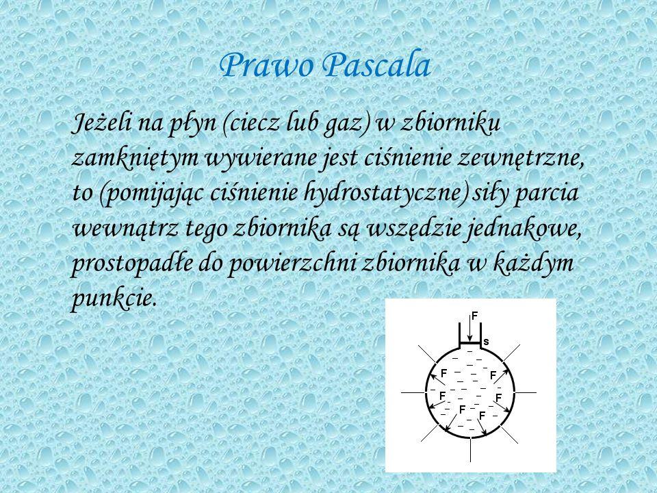 Prawo Pascala Jeżeli na płyn (ciecz lub gaz) w zbiorniku zamkniętym wywierane jest ciśnienie zewnętrzne, to (pomijając ciśnienie hydrostatyczne) siły parcia wewnątrz tego zbiornika są wszędzie jednakowe, prostopadłe do powierzchni zbiornika w każdym punkcie.