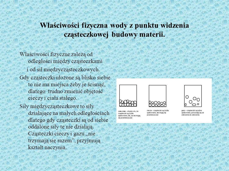 Właściwości fizyczna wody z punktu widzenia cząsteczkowej budowy materii.