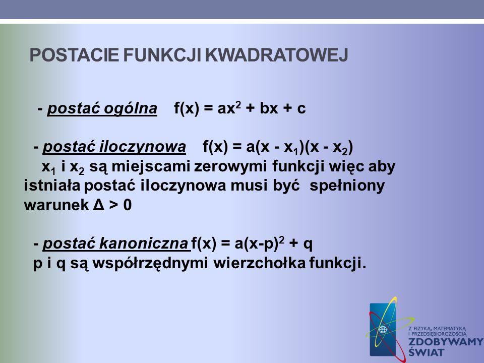 POSTACIE FUNKCJI KWADRATOWEJ - postać ogólna f(x) = ax 2 + bx + c - postać iloczynowa f(x) = a(x - x 1 )(x - x 2 ) x 1 i x 2 są miejscami zerowymi fun