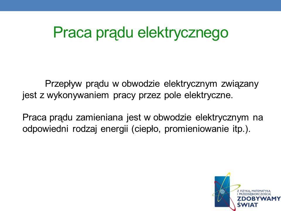 Praca prądu elektrycznego Przepływ prądu w obwodzie elektrycznym związany jest z wykonywaniem pracy przez pole elektryczne. Praca prądu zamieniana jes