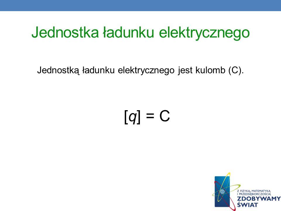 Jednostka ładunku elektrycznego Jednostką ładunku elektrycznego jest kulomb (C). [q] = C