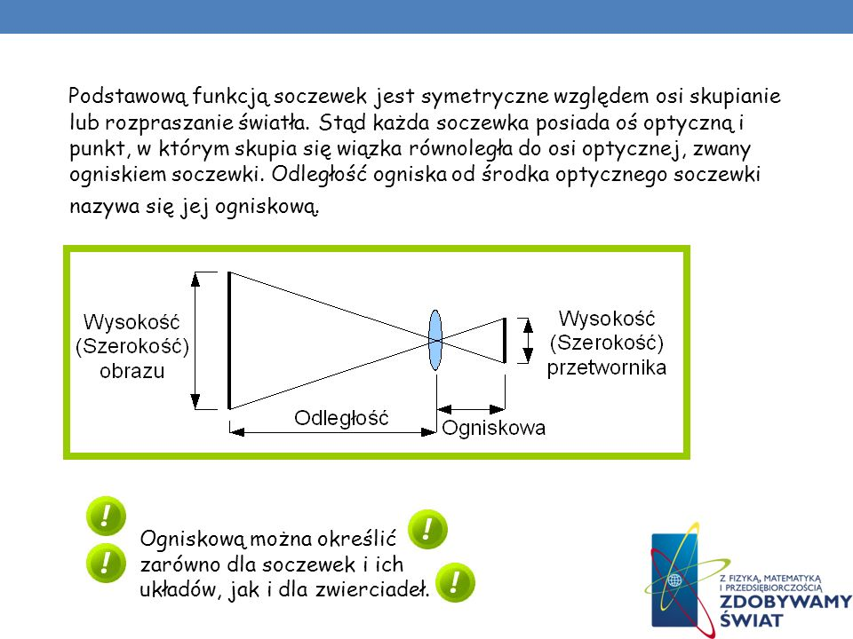 P odstawową funkcją soczewek jest symetryczne względem osi skupianie lub rozpraszanie światła. Stąd każda soczewka posiada oś optyczną i punkt, w któr