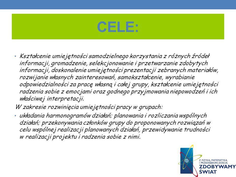 CELE: Kształcenie umiejętności samodzielnego korzystania z różnych źródeł informacji, gromadzenie, selekcjonowanie i przetwarzanie zdobytych informacj