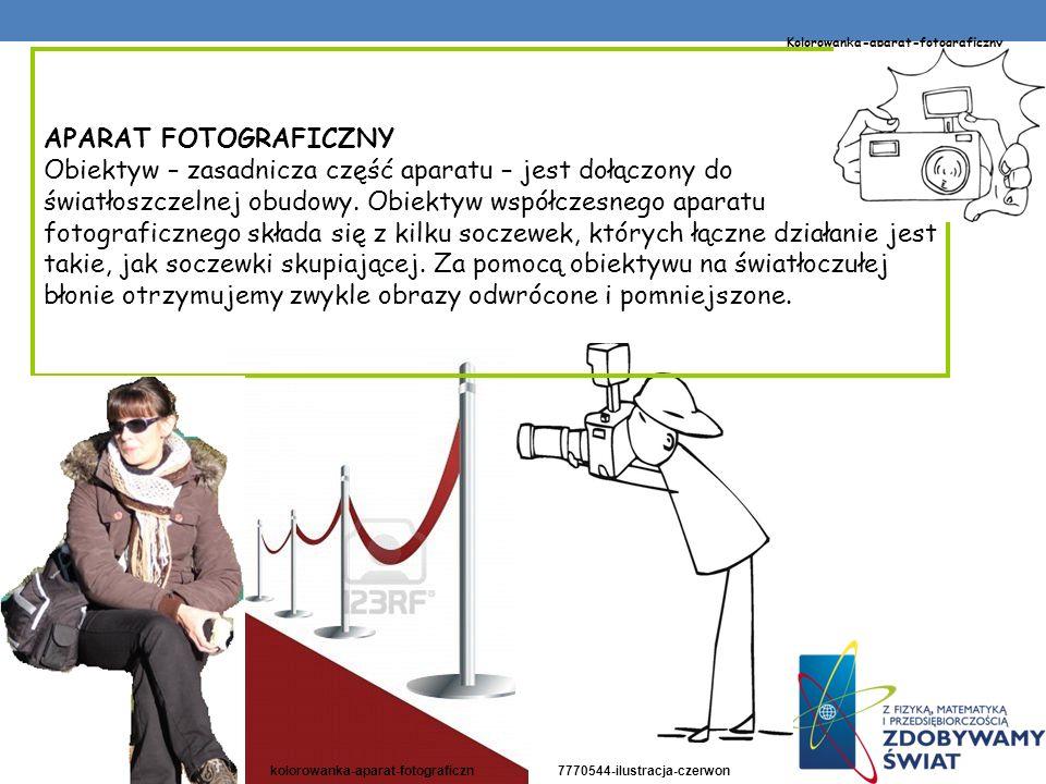 APARAT FOTOGRAFICZNY Obiektyw – zasadnicza część aparatu – jest dołączony do światłoszczelnej obudowy. Obiektyw współczesnego aparatu fotograficznego