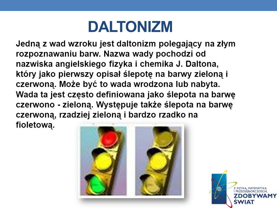 DALTONIZM Jedną z wad wzroku jest daltonizm polegający na złym rozpoznawaniu barw. Nazwa wady pochodzi od nazwiska angielskiego fizyka i chemika J. Da