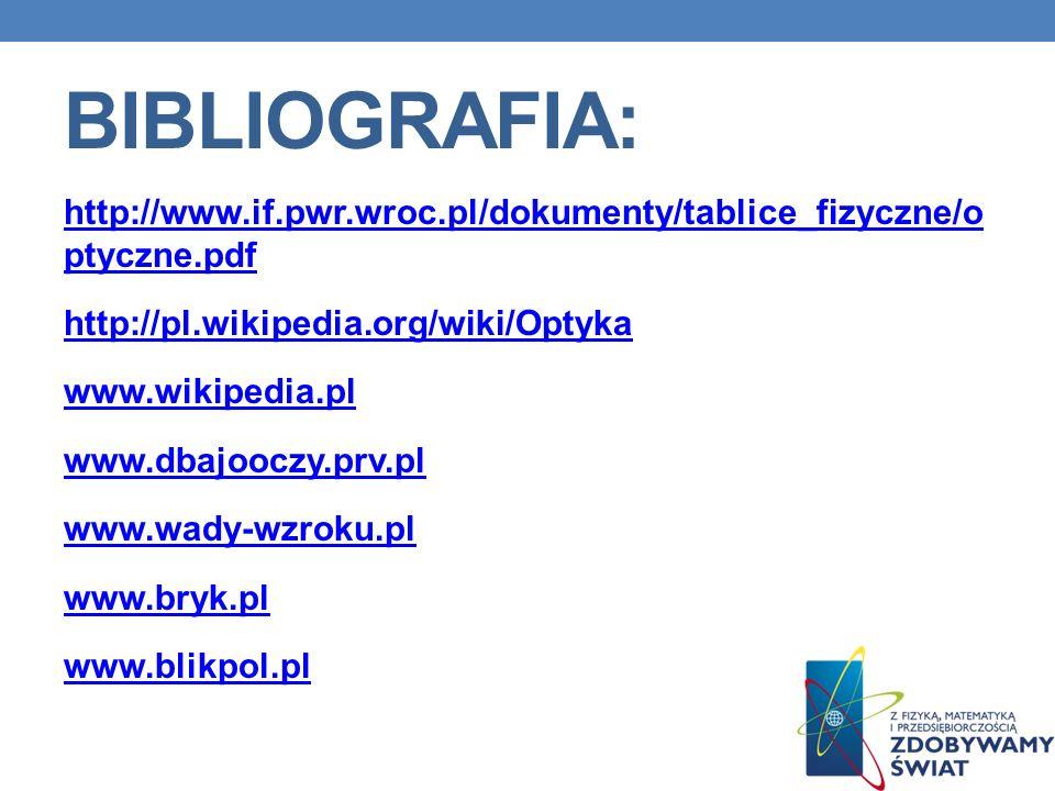 BIBLIOGRAFIA: http://www.if.pwr.wroc.pl/dokumenty/tablice_fizyczne/o ptyczne.pdf http://pl.wikipedia.org/wiki/Optyka www.wikipedia.pl www.dbajooczy.pr