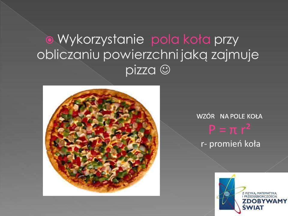 Oblicz jaką powierzchnię zajmuje pizza o promieniu równym 22 cm.