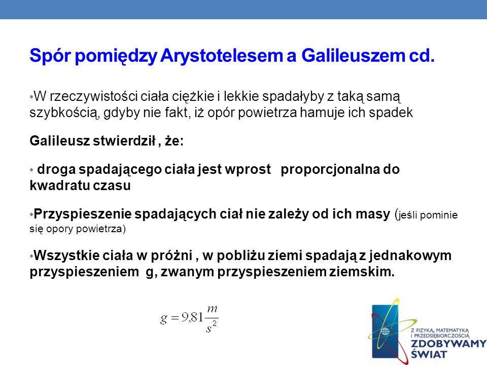 Spór pomiędzy Arystotelesem a Galileuszem cd. W rzeczywistości ciała ciężkie i lekkie spadałyby z taką samą szybkością, gdyby nie fakt, iż opór powiet
