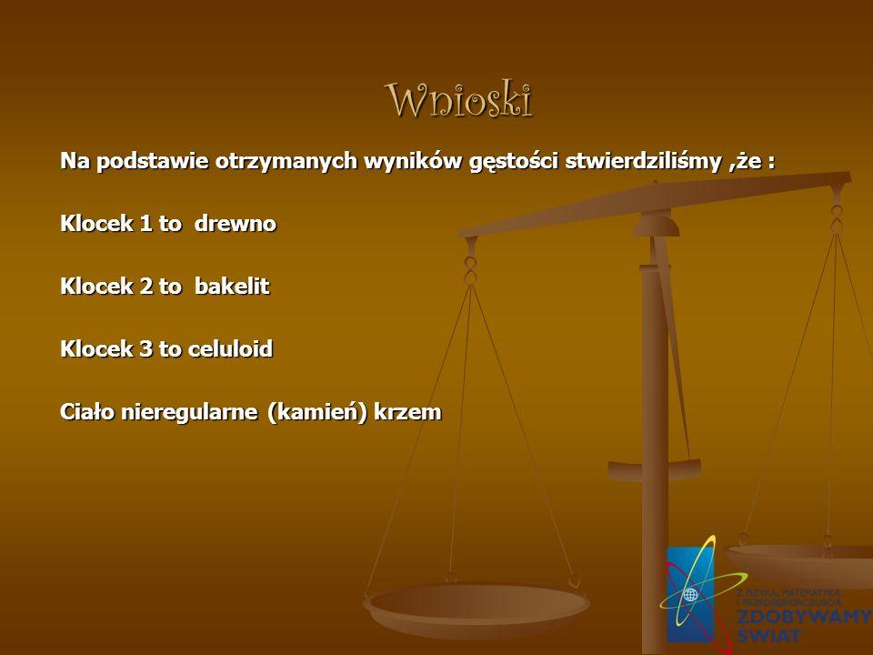 Wnioski Na podstawie otrzymanych wyników gęstości stwierdziliśmy,że : Klocek 1 to drewno Klocek 2 to bakelit Klocek 3 to celuloid Ciało nieregularne (kamień) krzem