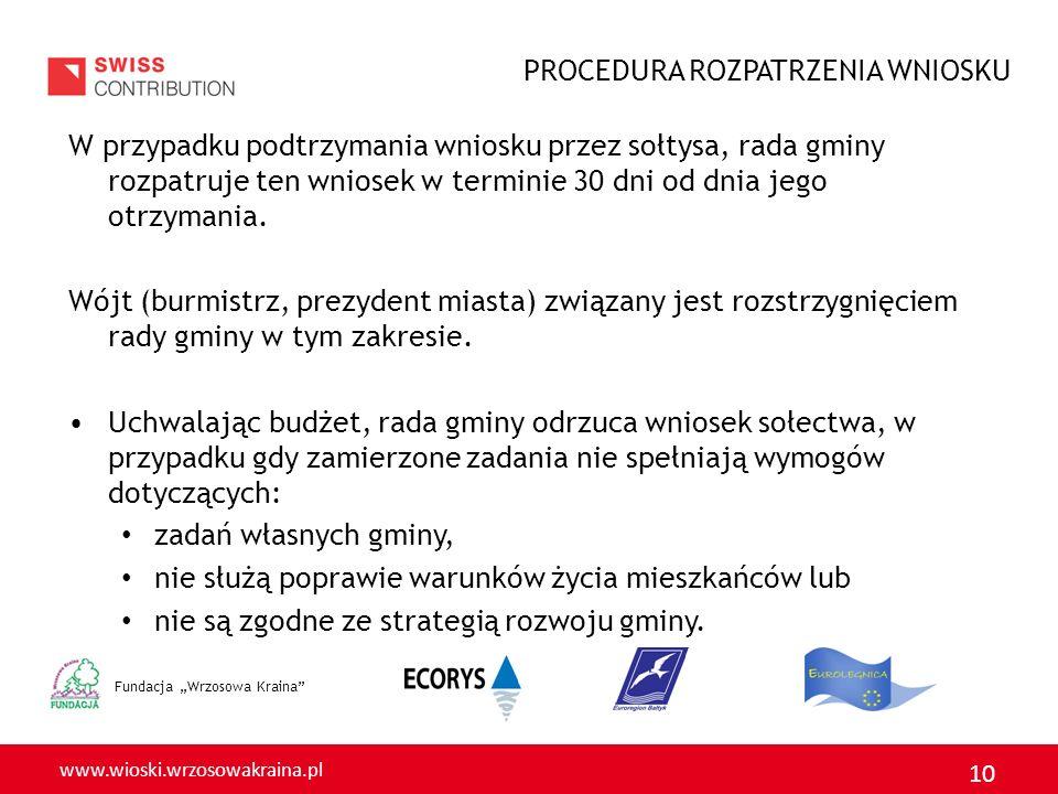 www.wioski.wrzosowakraina.pl 10 Fundacja Wrzosowa Kraina W przypadku podtrzymania wniosku przez sołtysa, rada gminy rozpatruje ten wniosek w terminie 30 dni od dnia jego otrzymania.