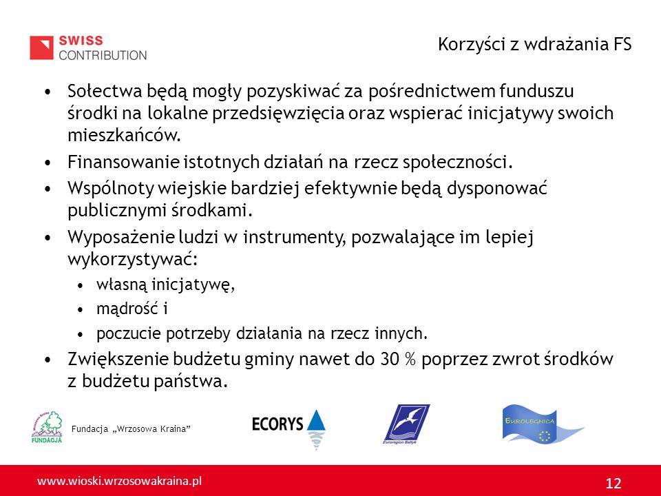 www.wioski.wrzosowakraina.pl 12 Fundacja Wrzosowa Kraina Sołectwa będą mogły pozyskiwać za pośrednictwem funduszu środki na lokalne przedsięwzięcia oraz wspierać inicjatywy swoich mieszkańców.