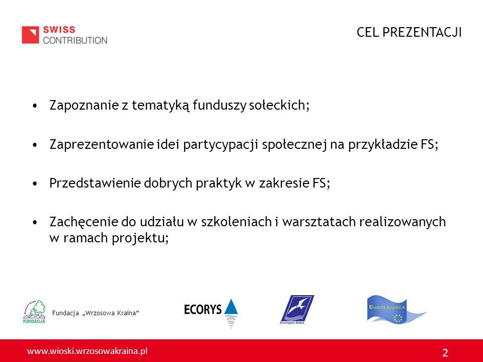www.wioski.wrzosowakraina.pl 2 Fundacja Wrzosowa Kraina Zapoznanie z tematyką funduszy sołeckich; Zaprezentowanie idei partycypacji społecznej na przykładzie FS; Przedstawienie dobrych praktyk w zakresie FS; Zachęcenie do udziału w szkoleniach i warsztatach realizowanych w ramach projektu; CEL PREZENTACJI