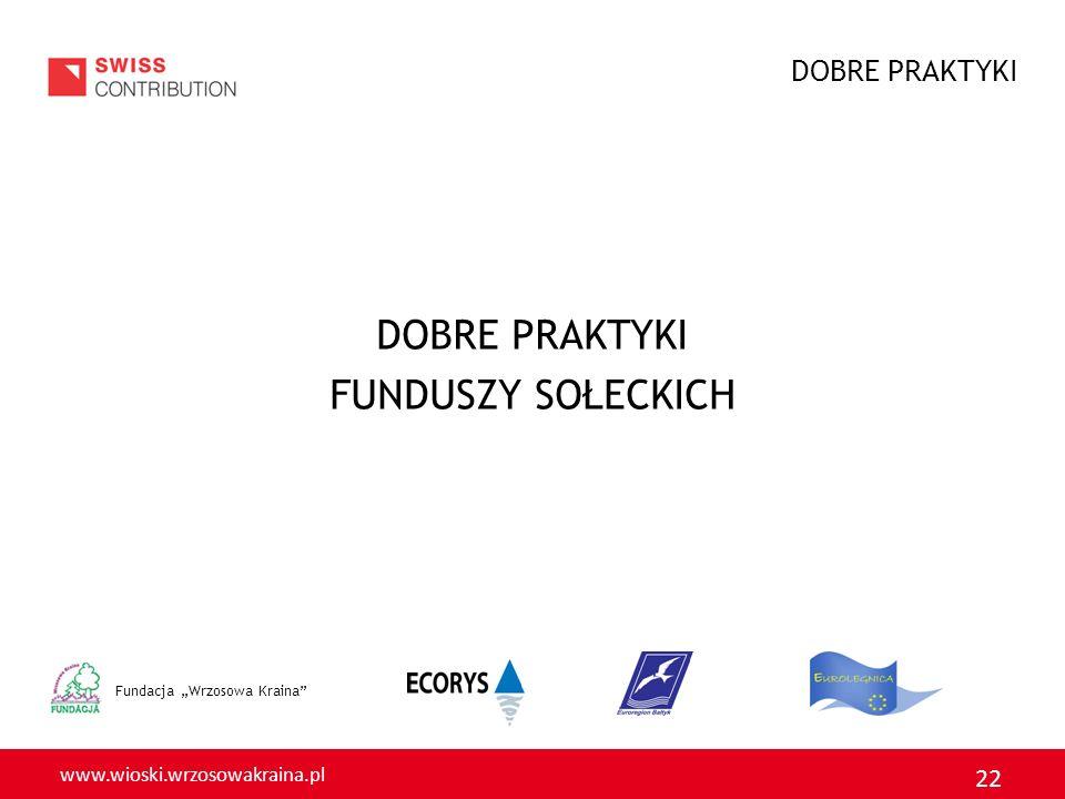 www.wioski.wrzosowakraina.pl 22 Fundacja Wrzosowa Kraina DOBRE PRAKTYKI FUNDUSZY SOŁECKICH DOBRE PRAKTYKI