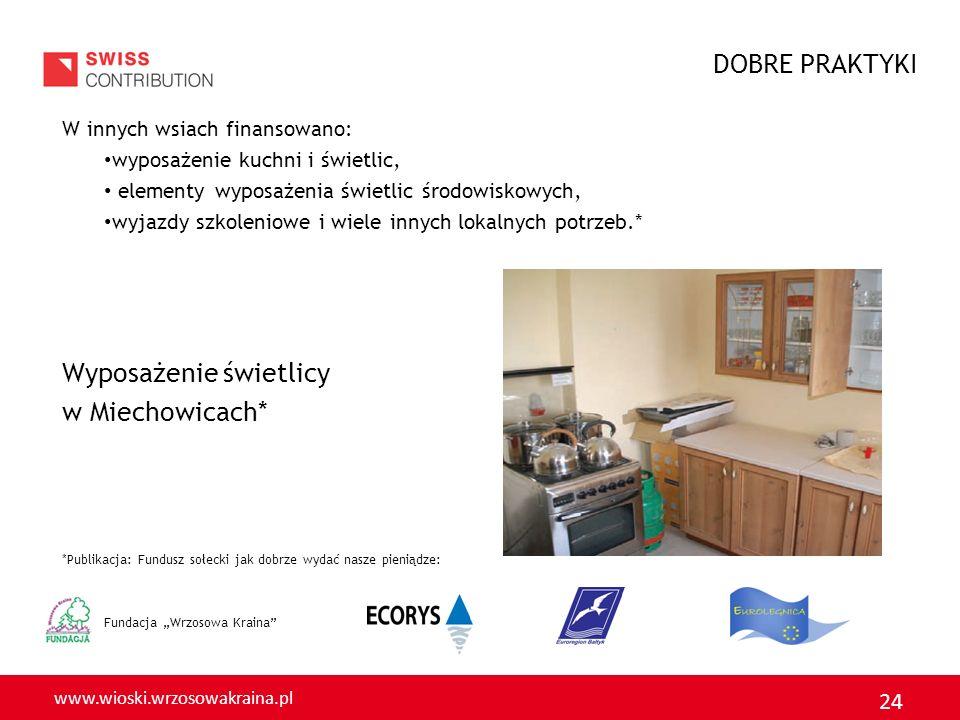 www.wioski.wrzosowakraina.pl 24 Fundacja Wrzosowa Kraina W innych wsiach finansowano: wyposażenie kuchni i świetlic, elementy wyposażenia świetlic środowiskowych, wyjazdy szkoleniowe i wiele innych lokalnych potrzeb.* Wyposażenie świetlicy w Miechowicach* *Publikacja: Fundusz sołecki jak dobrze wydać nasze pieniądze: DOBRE PRAKTYKI