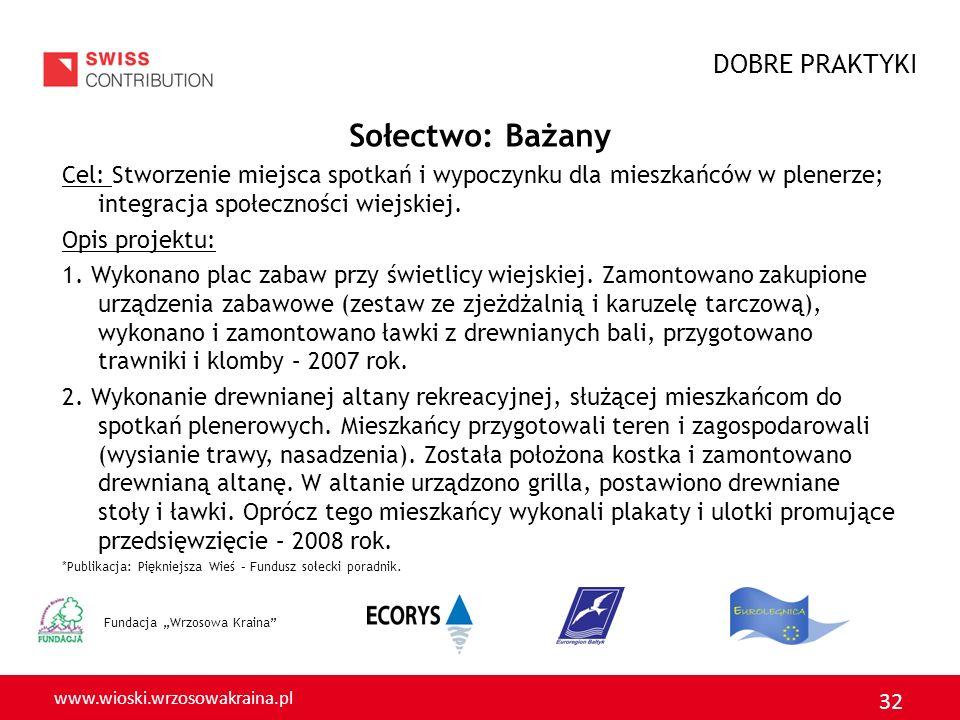 www.wioski.wrzosowakraina.pl 32 Fundacja Wrzosowa Kraina Sołectwo: Bażany Cel: Stworzenie miejsca spotkań i wypoczynku dla mieszkańców w plenerze; integracja społeczności wiejskiej.