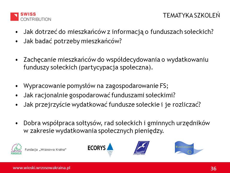 www.wioski.wrzosowakraina.pl 36 Fundacja Wrzosowa Kraina Jak dotrzeć do mieszkańców z informacją o funduszach sołeckich.