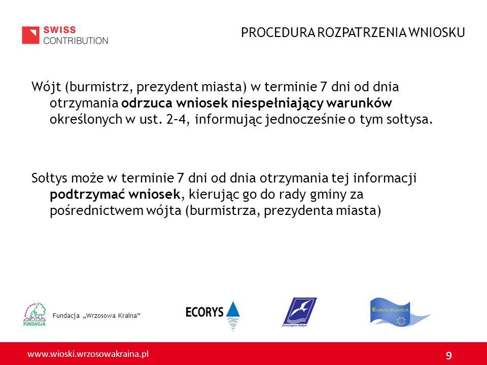 www.wioski.wrzosowakraina.pl 9 Fundacja Wrzosowa Kraina Wójt (burmistrz, prezydent miasta) w terminie 7 dni od dnia otrzymania odrzuca wniosek niespełniający warunków określonych w ust.