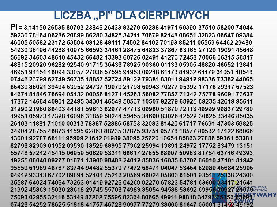 LICZBA PI DLA CIERPLIWYCH Pi = 3,14159 26535 89793 23846 26433 83279 50288 41971 69399 37510 58209 74944 59230 78164 06286 20899 86280 34825 34211 706