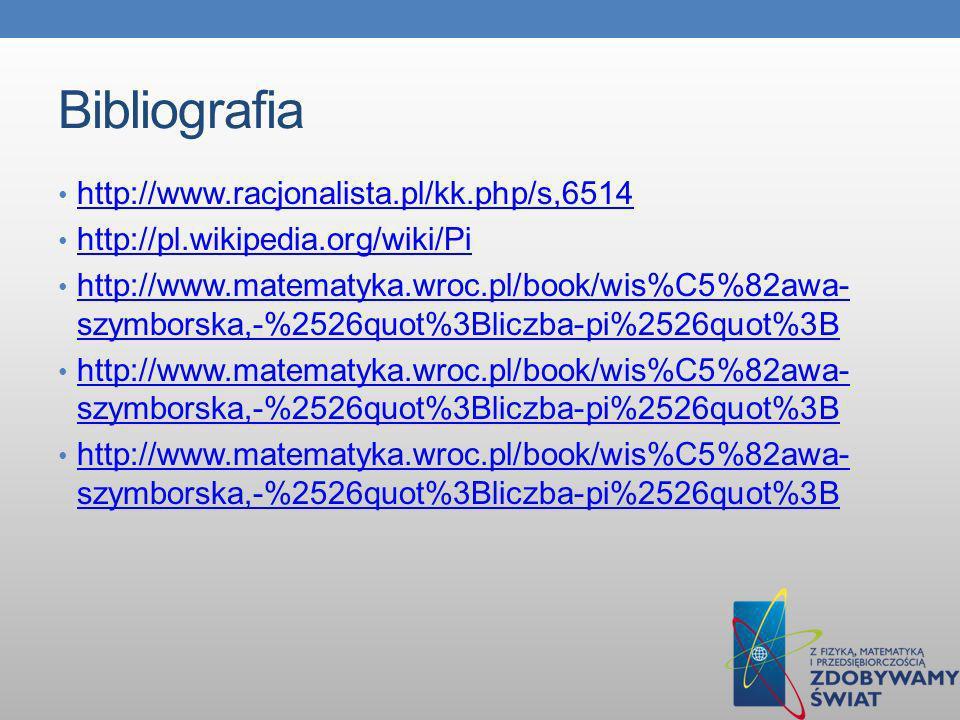 Bibliografia http://www.racjonalista.pl/kk.php/s,6514 http://pl.wikipedia.org/wiki/Pi http://www.matematyka.wroc.pl/book/wis%C5%82awa- szymborska,-%25
