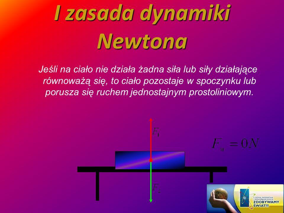 I zasada dynamiki Newtona Jeśli na ciało nie działa żadna siła lub siły działające równoważą się, to ciało pozostaje w spoczynku lub porusza się ruche
