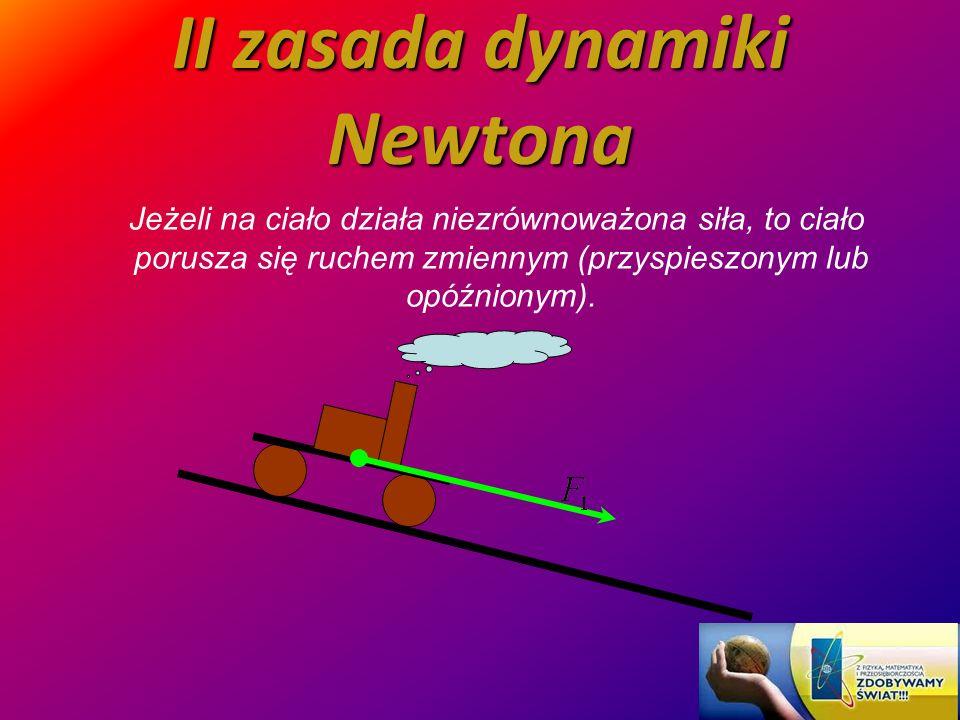 II zasada dynamiki Newtona Jeżeli na ciało działa niezrównoważona siła, to ciało porusza się ruchem zmiennym (przyspieszonym lub opóźnionym).