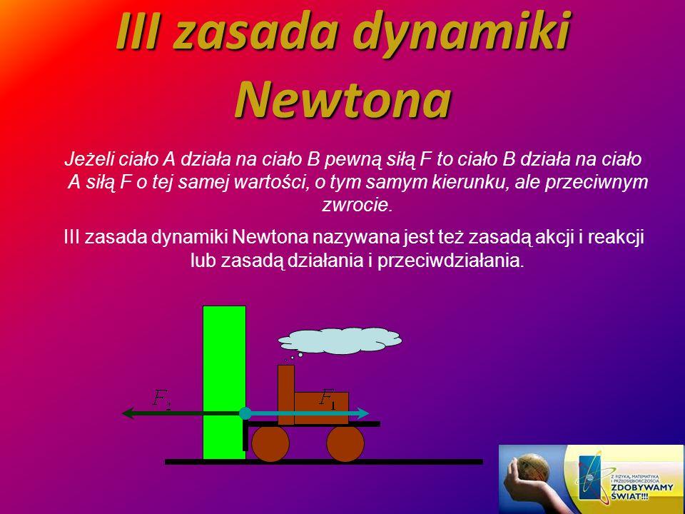 III zasada dynamiki Newtona Jeżeli ciało A działa na ciało B pewną siłą F to ciało B działa na ciało A siłą F o tej samej wartości, o tym samym kierun