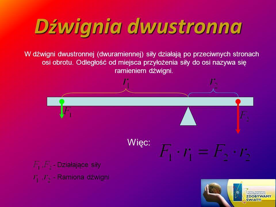 D ź wignia dwustronna W dźwigni dwustronnej (dwuramiennej) siły działają po przeciwnych stronach osi obrotu. Odległość od miejsca przyłożenia siły do
