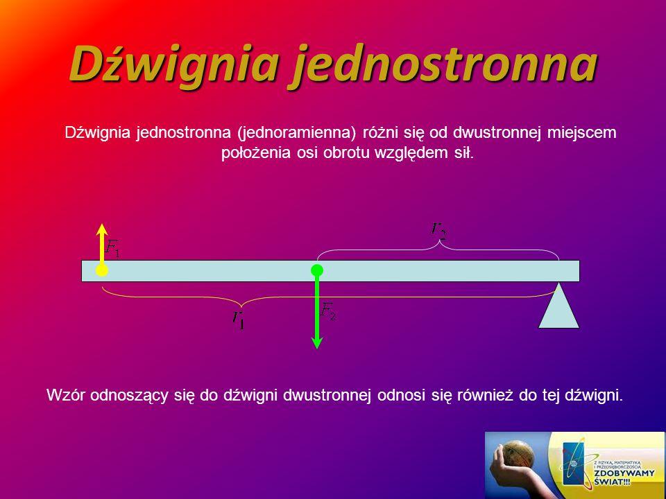 D ź wignia jednostronna Dźwignia jednostronna (jednoramienna) różni się od dwustronnej miejscem położenia osi obrotu względem sił. Wzór odnoszący się