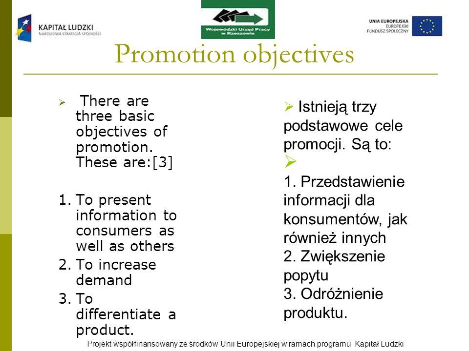 Projekt współfinansowany ze środków Unii Europejskiej w ramach programu Kapitał Ludzki Promotion objectives There are three basic objectives of promot